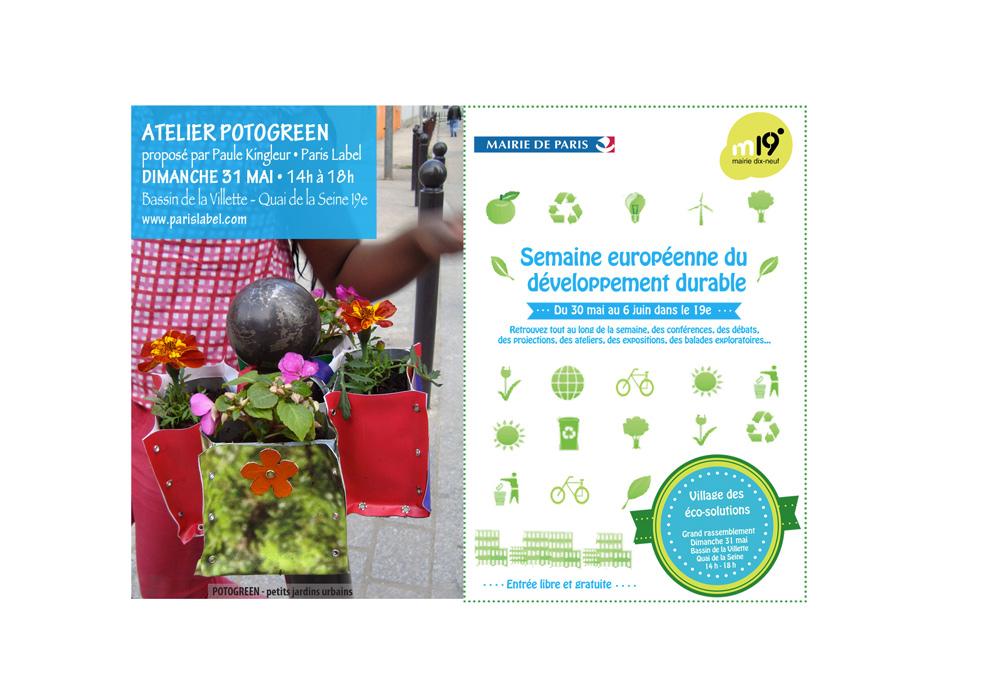 Atelier Potogreen animé par Paule Kingleur au Village des éco-solutions initié par la Mairie du 19e - Semaine du DD
