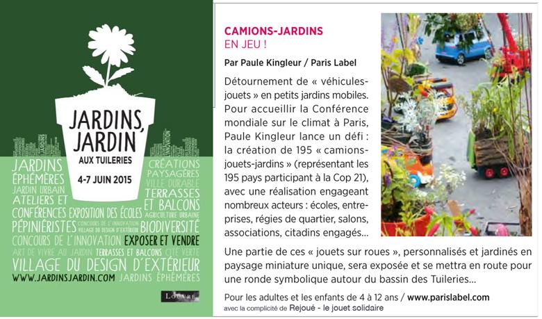 Jardins Jardin 2015 avec les Camions-Jardins de Paris Label