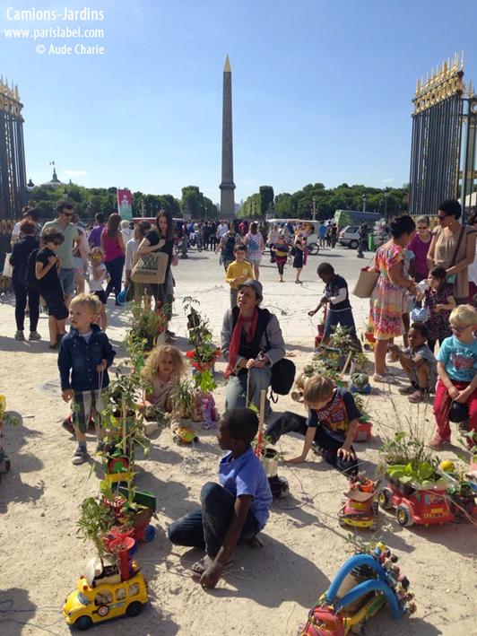 Paule Kingleur et les petits camions-jardins aux Tuileries ce dimanche 7 juin 2015