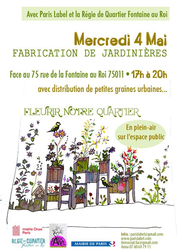 Création de jardinières participatives pour et par le quartier Fontaine au Roi - avec Paris Label, les habitants et les associations du quartier de Paris 11e