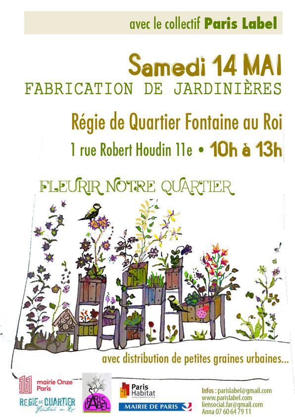Fabrication et plantation de jardinières collectives avec la Régie de Quartier Fonataine au Roi - projet mené par Paris Label