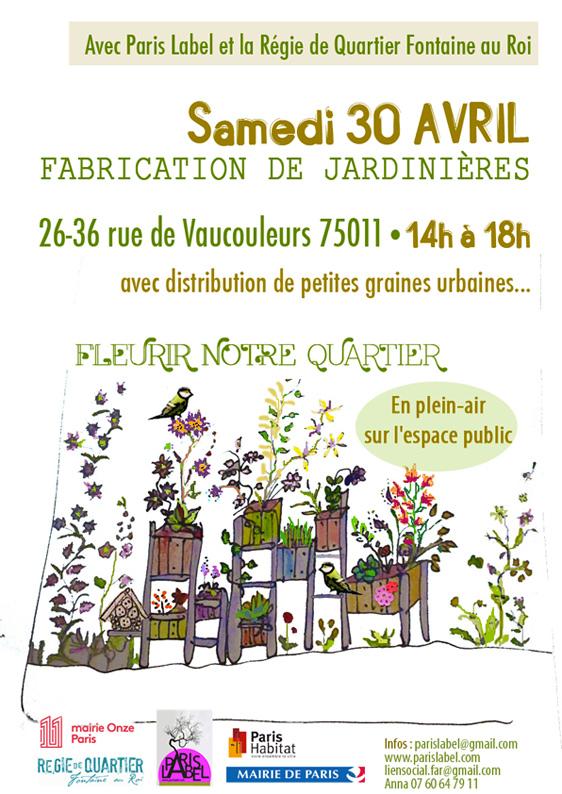 Création de jardinières participatives sur l'espace public avec Paris Label et les habitants du quartier Fontaine au Roi