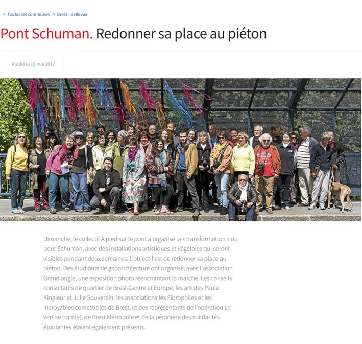 Article du Telegramme de Brest - Installations Pont Schuman- mai 2017